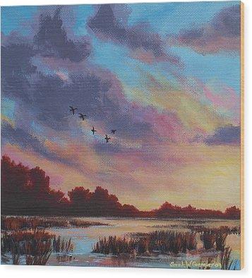 Sunrise Over The Marsh Wood Print