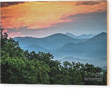 Wood Print featuring the photograph Sunrise Over The Smoky's by Douglas Stucky