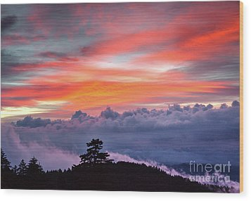 Wood Print featuring the photograph Sunrise Over The Smoky's II by Douglas Stucky