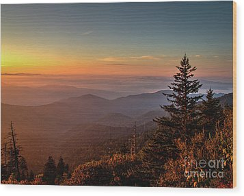 Wood Print featuring the photograph Sunrise Over The Smoky's V by Douglas Stucky