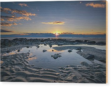 Wood Print featuring the photograph Sunrise Over Wells Beach by Rick Berk