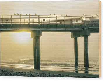 Wood Print featuring the photograph Sunrise Pier In Alabama  by John McGraw