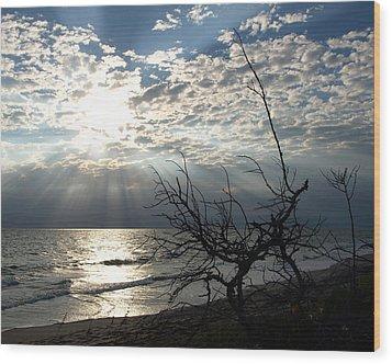 Sunrise Prayer On The Beach Wood Print by Allan  Hughes