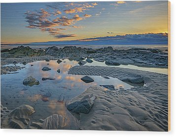 Wood Print featuring the photograph Sunrise Reflections On Wells Beach by Rick Berk