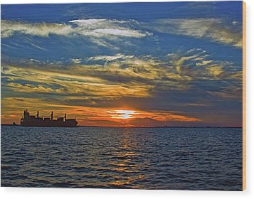 Sunrise Sail Wood Print