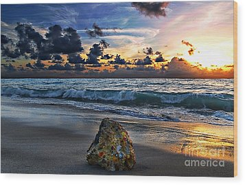 Sunrise Seascape Wisdom Beach Florida C3 Wood Print by Ricardos Creations