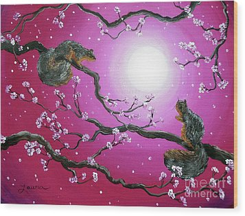 Sunrise Squirrels Wood Print by Laura Iverson