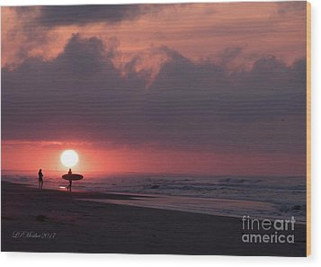 Sunrise Surfer Wood Print