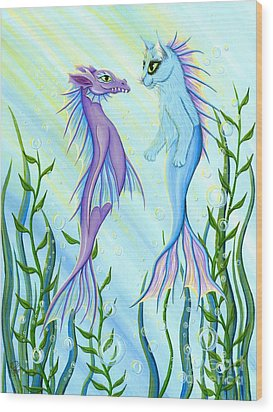 Wood Print featuring the painting Sunrise Swim - Sea Dragon Mermaid Cat by Carrie Hawks