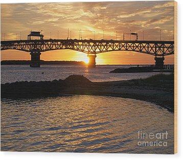 Sunrise Under Coleman Bridge Wood Print