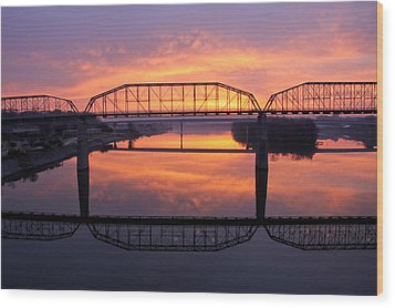Sunrise Walnut Street Bridge 2 Wood Print by Tom and Pat Cory