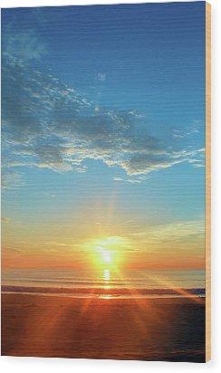 Sunrise With Flare Wood Print