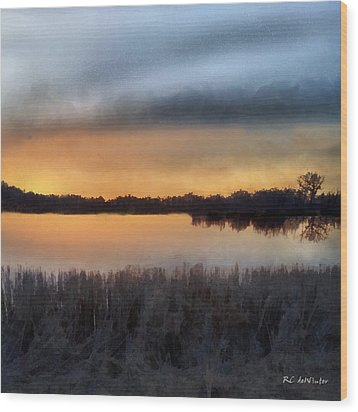 Sunrise On A Frosty Marsh Wood Print by RC deWinter