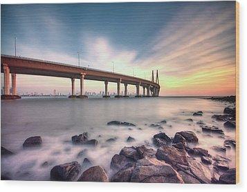 Sunset - Sea Link Wood Print by Brendon Fernandes