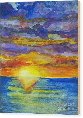Wood Print featuring the painting Sunset 1 by Suzette Kallen