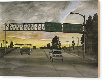 Sunset #28 Freeway Wood Print