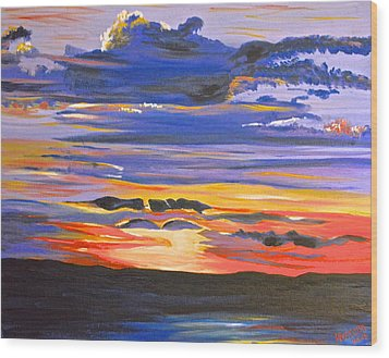 Sunset #5 Wood Print by Donna Blossom