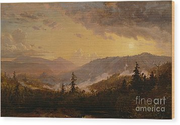 Sunset After A Storm In The Catskill Mountains Wood Print by Jasper Francis Cropsey
