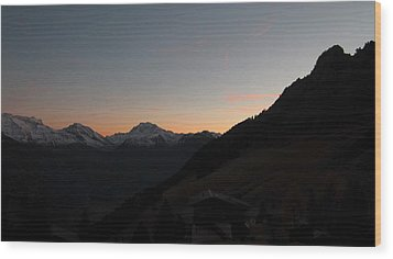 Sunset Afterglow In The Mountains Wood Print by Ernst Dittmar