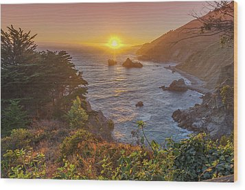 Wood Print featuring the photograph Sunset Along Highway 1 Big Sur California by Scott McGuire