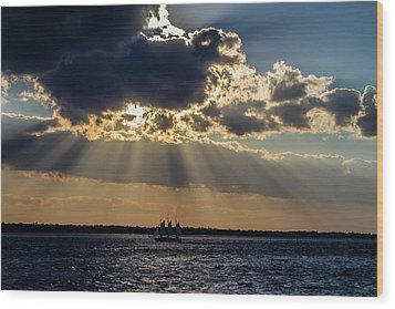 Sunset And A Three Masted Schooner Wood Print