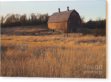 Sunset And Barn Wood Print by Edward R Wisell
