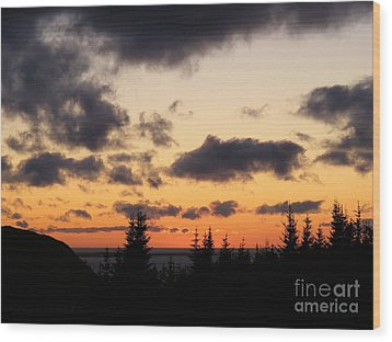 Wood Print featuring the photograph Sunset And Dark Clouds by Barbara Griffin