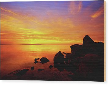 Sunset And Fire Wood Print by Chad Dutson