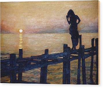 Sunset And Girl Wood Print