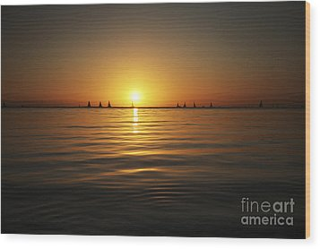 Sunset And Sailboats Wood Print by Brandon Tabiolo - Printscapes