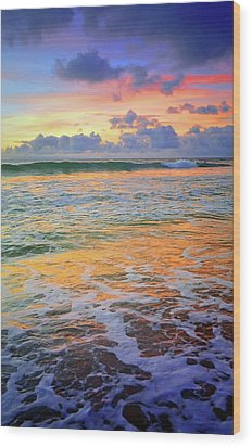 Wood Print featuring the photograph Sunset And Sea Foam by Tara Turner