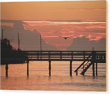 Sunset And The Fishing Dock Wood Print by Rosalie Scanlon