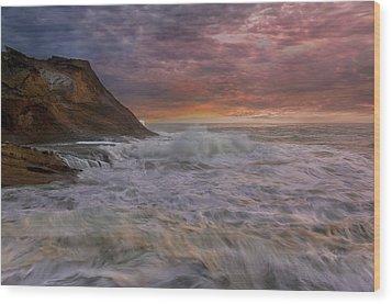 Sunset And Waves At Cape Kiwanda Wood Print by David Gn