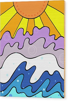 Sunset And Waves Wood Print by Jayme Kinsey
