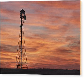 Sunset And Windmill 04 Wood Print