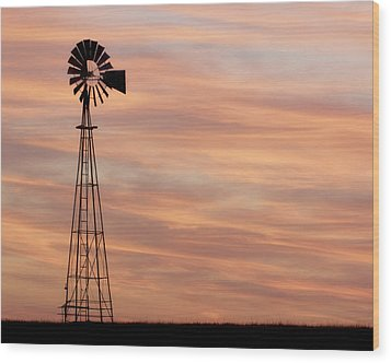 Sunset And Windmill 05 Wood Print