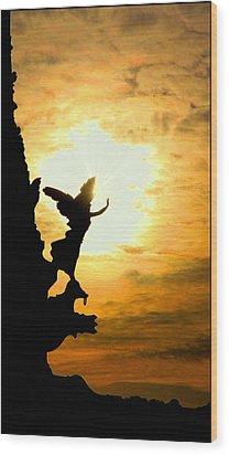 Sunset Angel Wood Print by Valentino Visentini