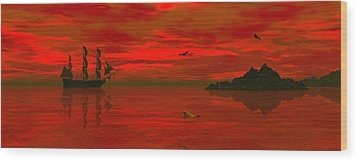 Sunset Arrival Wood Print by Claude McCoy