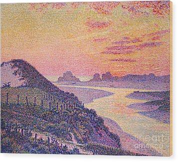 Sunset At Ambleteuse Pas-de-calais Wood Print by Theo van Rysselberghe