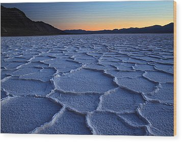 Sunset At Badwater In Death Valley Wood Print by Pierre Leclerc Photography