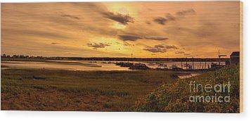 Sunset At Biddeford Pool Wood Print by David Bishop