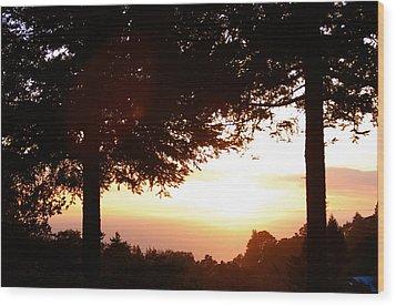 Sunset At Big Sur Wood Print
