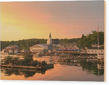 Sunset At Boothbay Harbor Wood Print by Lois Lepisto