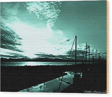 Sunset At Edmonds Washington Boat Marina 1 Wood Print by Eddie Eastwood