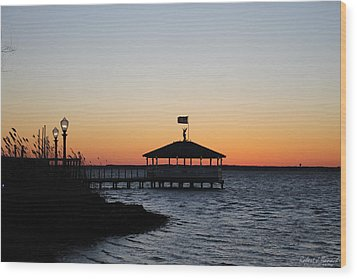Sunset At Fagers Island Gazebo Wood Print
