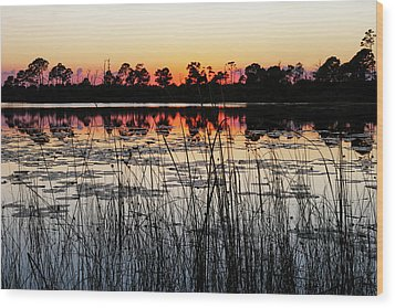Wood Print featuring the photograph Sunset At Gator Hole by Arthur Dodd