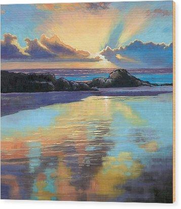 Sunset At Havika Beach Wood Print by Janet King