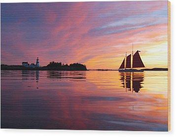 Sunset At Head Harbor Wood Print by Don Dunbar
