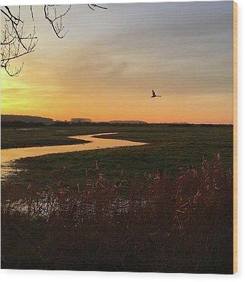 Sunset At Holkham Today  #landscape Wood Print