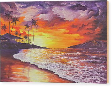 Wood Print featuring the painting Sunset At Kapalua Bay by Darice Machel McGuire
